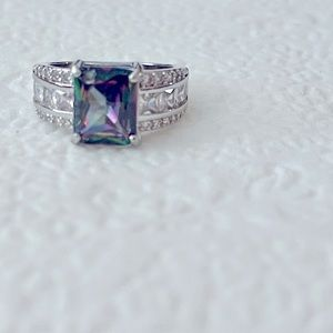 Stunning Mystic Topaz Emerald Cut Fashion Ring